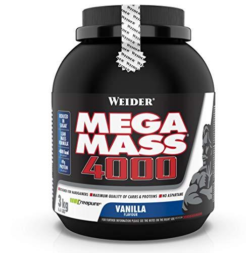 WEIDER Mega Mass 4000 Weight Gainer Shake zum Zunehmen, Vanille, mit Protein, Creapure Kreatin Monohydrat,...