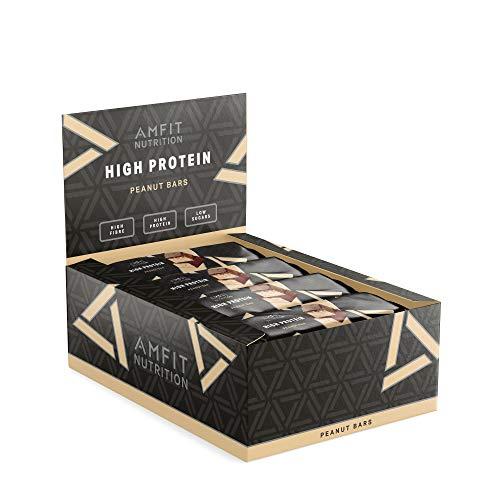 Amazon-Marke: Amfit Nutrition Proteinriegel mit niedrigem Zuckergehalt (19,5gr Protein - 1,7gr Zucker) mit Erdnuss...