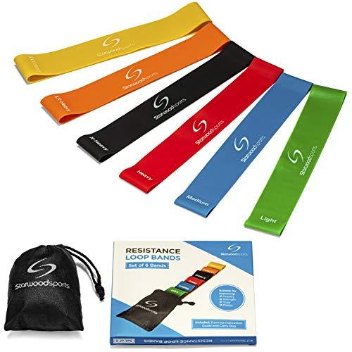 Set aus 4 Fitnessbändern – Gymnastikbänder/Loops für Yoga, Pilates, Reha-Sport Physio-Gymnastik – Für...