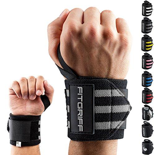 Fitgriff® Handgelenk Bandagen [Wrist Wraps] 45cm Handgelenkbandage für Fitness, Handgelenkstütze, Bodybuilding,...