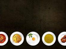 Einzelne Mahlzeit Portionen abgebildet